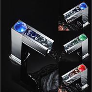 Χαμηλού Κόστους Βρύσες Νιπτήρα Μπάνιου-Μπάνιο βρύση νεροχύτη - Αισθητήρας / LED Χρώμιο Ελεύθερη όρθια θέση Hands free μια τρύπα