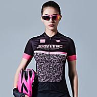 SANTIC Femme Manches Courtes Maillot de Cyclisme - Noir / rose Mode Cyclisme Maillot Hauts / Top Respirable Anti-transpiration Des sports 100 % Polyester VTT Vélo tout terrain Vélo Route Vêtement