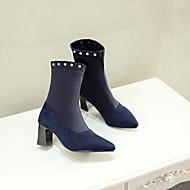 baratos Sapatos Femininos-Mulheres Sintéticos Outono & inverno Vintage / Minimalismo Botas Salto Robusto Dedo Apontado Botas Cano Médio Preto / Azul Escuro