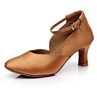 billige Moderne sko-Dame Moderne sko Sateng Høye hæler Tvinning Kubansk hæl Kan spesialtilpasses Dansesko Brun