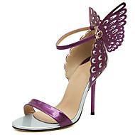 baratos Sapatos Femininos-Mulheres Stiletto Couro Ecológico Verão Doce Sandálias Salto Agulha Dedo Aberto Laço Dourado / Roxo / Amêndoa / Estampa Colorida