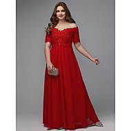 cheap -A-Line Off Shoulder Floor Length Chiffon Formal Evening Dress with Beading / Lace Insert by TS Couture®