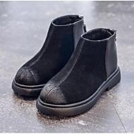 baratos Sapatos de Menina-Para Meninas Sapatos Camurça Primavera Verão / Outono & inverno Botas da Moda Botas Ziper para Infantil Preto / Khaki