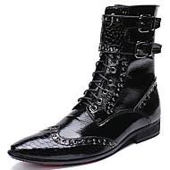 billige Herresko-Herre Fashion Boots Nappalæder Vinter Afslappet / Britisk Støvler Hold Varm Støvletter Sort / Fest / aften