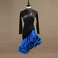 cheap -Latin Dance Dresses Women's Training / Performance Spandex / Tulle Crystals / Rhinestones Long Sleeve High Dress