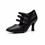 billige Moderne sko-Dame Moderne sko PU Sandaler / Høye hæler Spenne Utsvingende hæl Kan spesialtilpasses Dansesko Svart