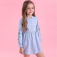 아동 여아 활동적 / 단 일상 / 데이트 줄무늬 자수 장식 긴 소매 면 / 폴리에스테르 드레스 푸른