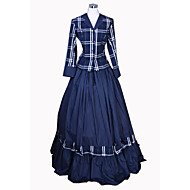 cheap -Rococo Victorian Costume Women's Dress Outfits Blue Vintage Cosplay Cotton Party Prom Long Sleeve Floor Length Long Length Ball Gown Plus Size Customized