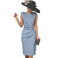 levne -Dámské Vintage Pouzdro Šaty - Puntíky Délka ke kolenům / Sexy