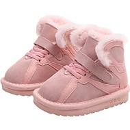 baratos Sapatos de Menina-Para Meninas Sapatos Pele Outono & inverno Botas de Neve Botas Velcro para Infantil / Bébé Preto / Cinzento / Rosa claro / Botas Curtas / Ankle