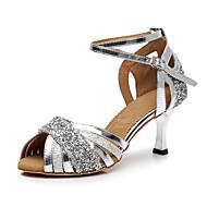 نسائي أحذية رقص جلد محفوظ / المواد التركيبية كعب بريق كعب كوبي مخصص أحذية الرقص فضي