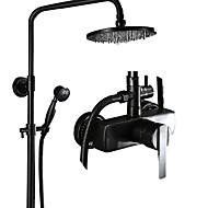 billiga Duschkranar-Duschkran - Antik Oljeaktig Brons Centerset Keramisk Ventil Bath Shower Mixer Taps / Mässing / Enda handtag tre hål