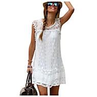 فستان نسائي كلاسيكي عصري دانتيل - قطن قصير جداً أبيض لون سادة