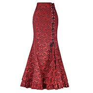 Retro / Vintage Victorian 1930s 18th Century Costume Women's Skirt Purple / Red / Green Vintage Cosplay Silk Date Vacation Long Length
