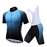 TELEYI Men's Short Sleeve Cycling Jersey with Bib Shorts - White Black Bike Clothing Suit Breathable Quick Dry Sports Coolmax® Geometric Mountain Bike MTB Road Bike Cycling Clothing Apparel