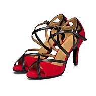 Γυναικεία Παπούτσια χορού λάτιν Σουέτ Πέδιλα Κουβανικό Τακούνι Εξατομικευμένο Παπούτσια Χορού Μαύρο / Κόκκινο