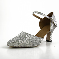 Mujer Zapatos de Baile Moderno Encaje Sandalia / Zapatilla Encaje Tacón Cubano Personalizables Zapatos de baile Plateado
