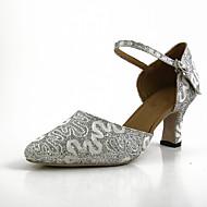 billige Moderne sko-Dame Moderne sko Blonder Sandaler / Joggesko Blonder Kubansk hæl Kan spesialtilpasses Dansesko Sølv