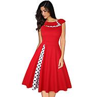 Audrey Hepburn Points Polka Rétro / Vintage Années 50 Costume Femme Robes Noir / Rouge / Bleu Vintage Cosplay Polyester Manches Courtes Mancheron Mi-long