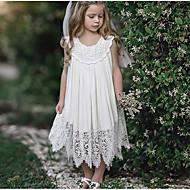 Παιδιά Κοριτσίστικα Γλυκός Καθημερινά Μονόχρωμο Δαντέλα Αμάνικο Μακρύ Πολυεστέρας Φόρεμα Λευκό
