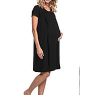 فستان نسائي كلاسيكي عصري أنيق طول الركبة لون سادة