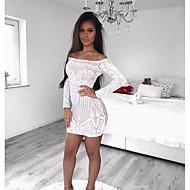 Dame Elegant Tynd Bukser Pailletter Hvid / Skulderfri / Sexy