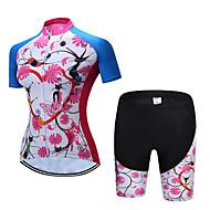 TELEYI สำหรับผู้หญิง แขนสั้น Cycling Jersey with Shorts - สีฟ้า+สีชมพู ลวดลายดอกไม้ / เกี่ยวกับพฤษศาสตร์ จักรยาน ชุดออกกำลังกาย ระบายอากาศ กีฬา เส้นใยสังเคราะห์ ลวดลายดอกไม้ / เกี่ยวกับพฤษศาสตร์
