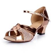 Žene Cipele za latino plesove PU Štikle / Tenisice Blistati Debela peta Plesne cipele Tamno smeđa