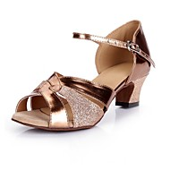 Women's Latin Shoes PU(Polyurethane) Heel / Sneaker Glitter Thick Heel Dance Shoes Dark Brown