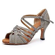نسائي أحذية رقص المواد التركيبية كعب كعب كوبي مخصص أحذية الرقص ذهبي