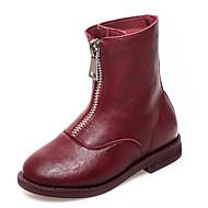 baratos Sapatos de Menina-Para Meninas Sapatos Couro Primavera & Outono Coturnos Botas Ziper para Infantil Preto / Bege / Vinho / Botas Cano Médio