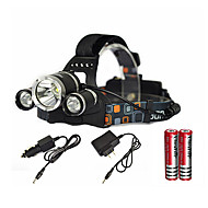 Headlamps LED Cree® XM-L T6 Emitters 6000 lm 1 Mode with Batteries and Charger Zoomable Waterproof Rechargeable Camping / Hiking / Caving Everyday Use Diving / Boating Black