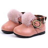baratos Sapatos de Menina-Para Meninas Sapatos Couro Inverno Curta / Ankle Botas Presilha / Velcro para Bebê Preto / Rosa claro / Castanho Claro / Botas Curtas / Ankle