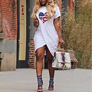 א-סימטרי דפוס, גיאומטרי - שמלה טישרט סגנון רחוב בגדי ריקוד נשים