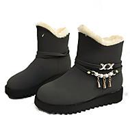 baratos Sapatos Femininos-Mulheres Couro Ecológico Inverno Casual Botas Salto Baixo Botas Cano Médio Pedrarias Preto / Cinzento / Café