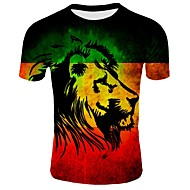 T-shirt - Taglie forti Per uomo Essenziale Con stampe, 3D Rotonda - Cotone Nero XXL / Manica corta