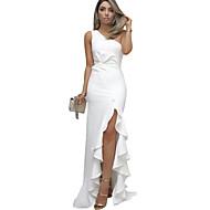 여성용 파티 슬림 칼집 드레스 - 한 색상, 주름장식 비대칭 원 숄더
