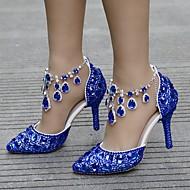 Femme Polyuréthane Printemps été Classique Chaussures de mariage Talon Aiguille Bout pointu Strass / Boucle / Gland Bleu / Mariage
