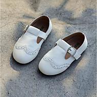 baratos Sapatos de Menina-Para Meninas Sapatos Pele Primavera & Outono Sapatos para Daminhas de Honra Rasos Botão para Infantil / Adolescente Preto / Laranja / Amarelo