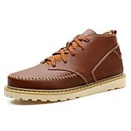 baratos Sapatos Masculinos-Homens Coturnos Pele Outono Botas Preto / Castanho Claro / Castanho Escuro