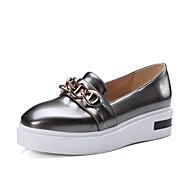 baratos Sapatos Femininos-Mulheres Sintéticos Outono Mocassins e Slip-Ons Plataforma Ponta Redonda Dourado / Cinzento Claro / Prateado / Festas & Noite