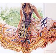 Mulheres Básico Bainha balanço Vestido Geométrica Decote em V Profundo Cintura Alta Longo / Sexy