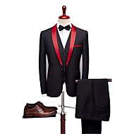 Solid Colored Tailored Fit Wool Blends / Polyster Suit - Shawl Collar Single Breasted One-button