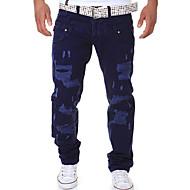 Erkek Pamuklu Chinos Pantolon - Solid Koyu Mavi
