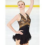 Χαμηλού Κόστους -Φόρεμα για φιγούρες πατινάζ Γυναικεία / Κοριτσίστικα Patinaj Φορέματα Μαύρο Open Back Spandex, Δαντέλα Υψηλή Ελαστικότητα Ανταγωνισμός Ενδυμασία πατινάζ Χειροποίητο Jeweled / Στρας Αμάνικο
