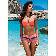 Mujer Básico Con Tirantes Rojo Bandeau Pícaro Bikini Bañadores - A Rayas L XL XXL Rojo / Súper Sexy