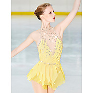 Artistik Patinaj Elbiseleri Kadın's Genç Kız Łyżwiarstwo Elbiseler Sarı Open Back Splandeks Streç İplik Yüksek Elastikiyet Profesyonel Rekabet Paten Çantası Elyapımı Moda Kolsuz Buz Pateni K