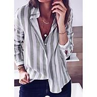 Women's Slim Blouse - Color Block Shirt Collar