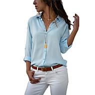 Dámské - Jednobarevné Košile Košilový límec Volné Šedá L / Sexy