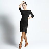 라틴 댄스 드레스 여성용 성능 우유 섬유 태슬 반 소매 드레스